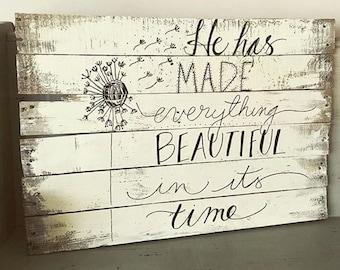 Custom Hand-Lettered Inspirational Pallet Wood Sign
