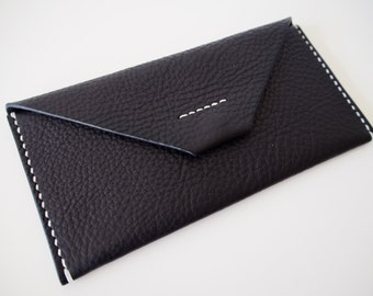 Leather Long Wallet, Leather Clutch - Black