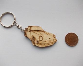 Porsche 911 Keyring Etched detail wooden