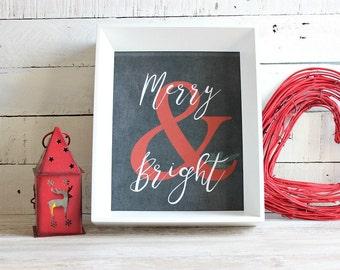 Chalkboard Christmas Print, Christmas Wall Art, Holiday Print, Merry and Bright, Holiday Decor, Christmas Home Decor, Instant Download