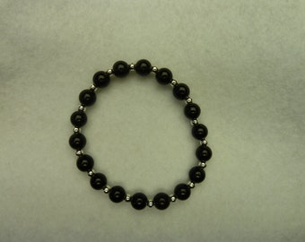 Pearl bracelet in black-silver