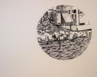 Original Ink Pen Drawing, Salut, Spain