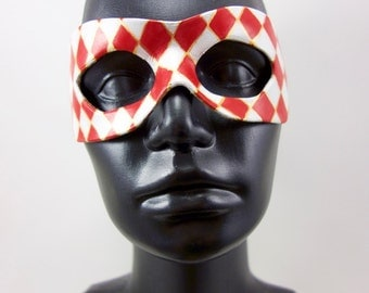 Red Jester Leather Mask