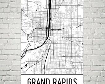 Grand Rapids Map, Grand Rapids Art, Grand Rapids Print, Grand Rapids MI Poster, Grand Rapids Wall Art, Map of Grand Rapids, Decor, Gift, Art