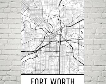 Fort Worth Map, Fort Worth Art, Fort Worth Print, Fort Worth TX Poster, Fort Worth Wall Art, Map of Fort Worth, Fort Worth Gift, Decor, Art