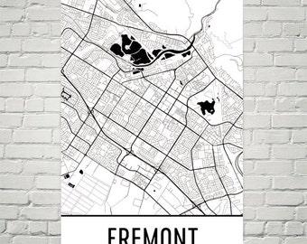 Fremont Map, Fremont Art, Fremont Print, Fremont California Poster, Fremont Wall Art, Fremont Gift, Fremont Decor, Fremont Map Art Print