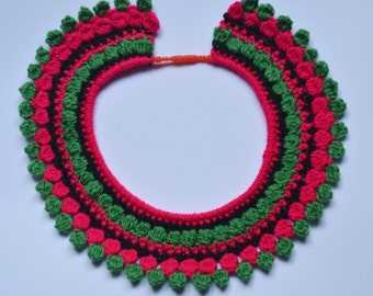 Pink, Green and Black Crochet Collar Necklace