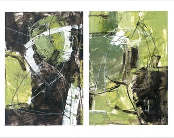 Original Abstract Painting by Jeff Cohen / Modern Art / Earth Tones / Diptych / Brown and Green  / Contemporary / Bold / Dynamic / Balanced
