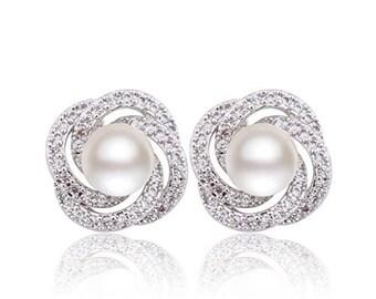 Wedding Pearl Jewelry, Pearl Diamond Earrings, Bridal Studs, Pearl Jewelry, Bridal Statement Earrings, Bridal Pearl Jewelry,