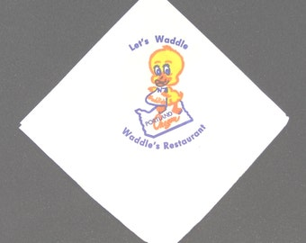 Set of Five circa 1960 Paper Napkins From Waddles Restaurant in Portland Oregon