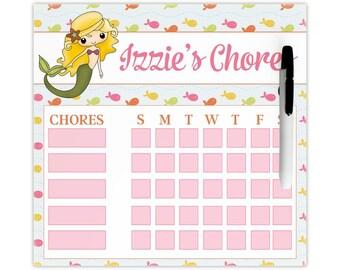 Dry erase chore chart, magnetic chore chart, chore chart for kids, kids reward chart - featuring an adorable mermaid