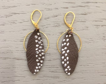 Leather earrings, leather feathers, bohemian earrings, ethnic earrings, folk earrings, feather earrings, ooak jewelry, gift for her