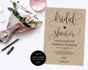 Bridal shower Invitation - Bridal Shower Invites - Printable Bridal Shower template - Wedding Shower Invite - PDF Instant Download #WDH0086
