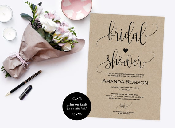 Bridal shower Invitation - Bridal Shower Invites - Printable Bridal Shower template - Wedding Shower Invite - PDF Instant Download #WDH0086