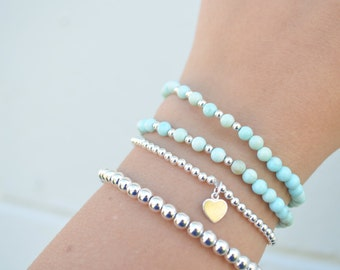 3mm .925 Sterling Silver Stretch Ball Bracelet With Heart Charm