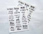 30 - Inspirational Phrases and Quotes Hand Lettered Clear Stickers for Bullet Journal / Planner, Black Ink Transparent Glossy (P)
