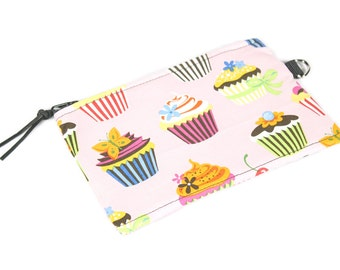 Pink Cupcake Coin Purse - for cosmetics and tech gear