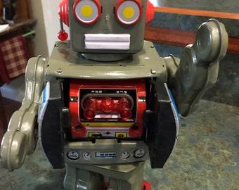 Robot Mr. D Cell ( 1 foot tall ) Tin/Metal Walking Robot Gun Sounds