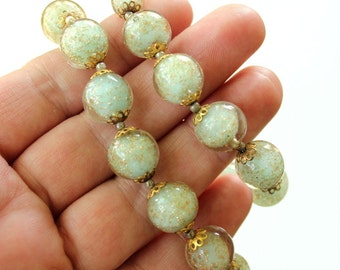 vintage glass Sommerso necklace . Venetian glass beaded necklace . pale aqua green art glass beaded necklace with gold flecks