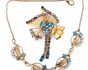 Blue and White Crystals Gold Filled Retro Necklace & Brooch Pin