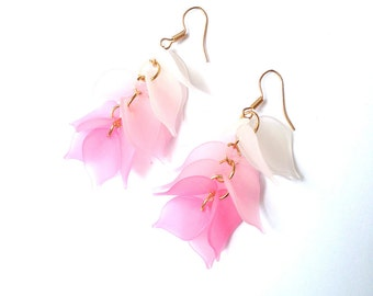PINK CASCADE -- cluster earrings, ombré pink / white by The Sausage