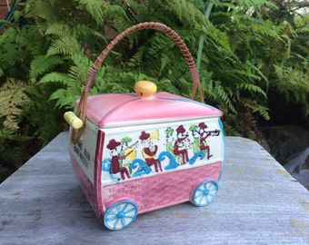 Pastel pink and blue 'Roll and Bun Band Wagon' cookie jar or biscuit barrel Made in Japan
