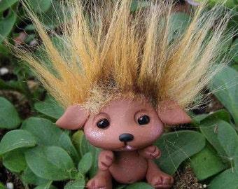 "OOAK Puppy Dog Goblin Trollfling Troll baby ""Mocha"" by Amber Matthies"