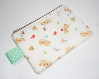 Smiling Bear and Birdie Padded Zippered Pouch -- White (Camera / IPod / Cell Phone Case)