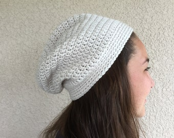 Teen girl's Slouch hat, Linen color slouchy beanie,  off white or cream slouch hat, Crochet hat, adult hat,  slight slouch hat