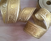 1 Metre Yellow Gold Sari Border Ribbon 38mm Wide