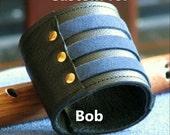CUSTOM for BOB -- Unisex Leather Wrist Wallet Cuff - On-the-Go WristbandBracelet with Secret Pocket -- Militant Band Leader - Blue Suede