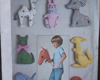 Vintage 70s UNCUT Simplicity 7744 Sewing Pattern / Stuffed Toy Animals Rabbit Cat Dog Elephant Horse Camel Kangaroo Hobby Horse
