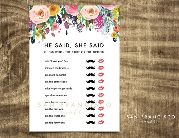 He said she said bridal shower game by sanfranciscocrafts for He said she said bridal shower game template