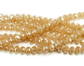 Desert Sand Faceted Rondelles w/AB Finish Beads