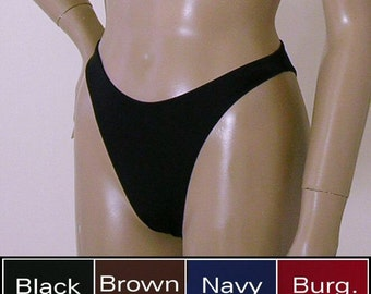 80s High Leg Brazilian Bikini Bottom in Black, Burgundy, Brown, Navy Blue, Gray, and Nude