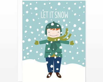 Holiday Card for Boys, Let It Snow Boy Greeting Card, Christmas Card for Children, Card for Him, Card for Children, Xmas Card, for Son