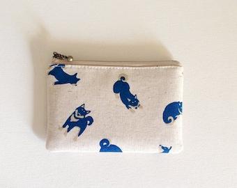 mini zipper pouch  - shiba-inu (natural)