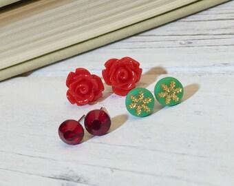Stud Earring Set, Christmas Gift Set, Christmas Earrings, Christmas Studs, Green Gold Snowflake Studs, Red Rose Studs, Rhinestone Studs