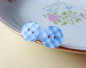 Light Blue Plaid Earrings, Blue Post Earrings, Button Stud Earrings, Surgical Steel, Light Blue Gingham Sewing Button Post Earrings (LB1)