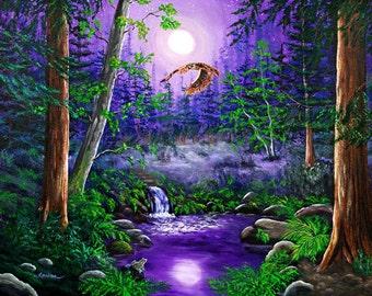 Horned Owl Flying through Redwood Trees Purple Moon Waterfall Frog Night Surreal Forest California Landscape Bird Wall Art Fine Art Print