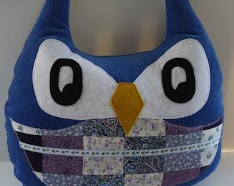 Large Stuffed Owl Pillow- Patchwork, owl pillow, owl toy,owl plush,stuffed owl toy,owl throw pillow,owl cuddly toy,owl stuffed,nursery decor