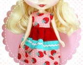 Layer Cake in Strawberry Patch / One-of-a-Kind Doll Dress for Blythe