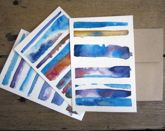 Original Watercolor Postcard/Notecards: Blue and Purple Abstract Paintings