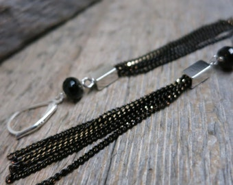 The Other Side earrings ... antique silver and black tassel chandeliers / leverbacks