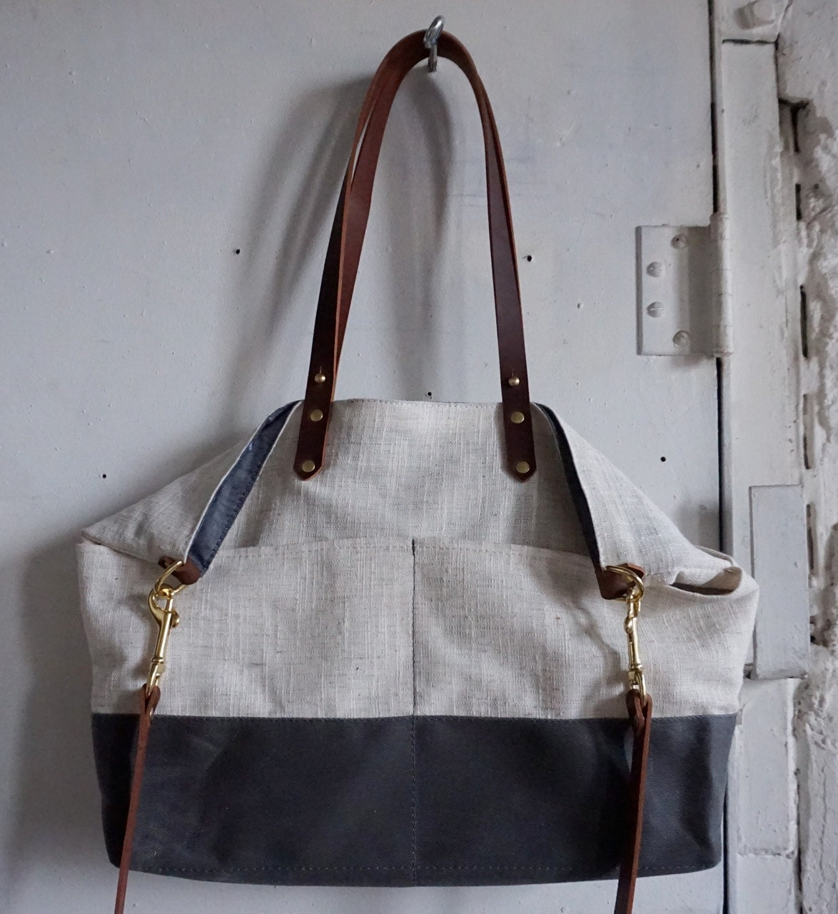 Ocean tote in linen, twill and chambray