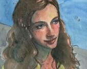 Monotype Portrait with Wa...