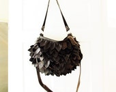 Black Chrysanthemum Leather Bag