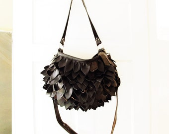 Black Chrysanthemum Leather Bag