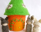 Bunny house Felted Wool Bunny Home peg dolls story telling