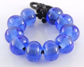 054 Transparent Medium Blue Spacers - Handmade Artisan Lampwork Glass Beads 5mmx9mm - SRA (Set of 10 Spacer Beads)
